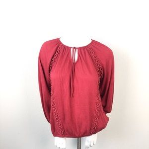 Anthro Meadow Rue Red Peasant Top
